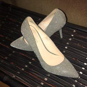 Glitter pointed toe heels